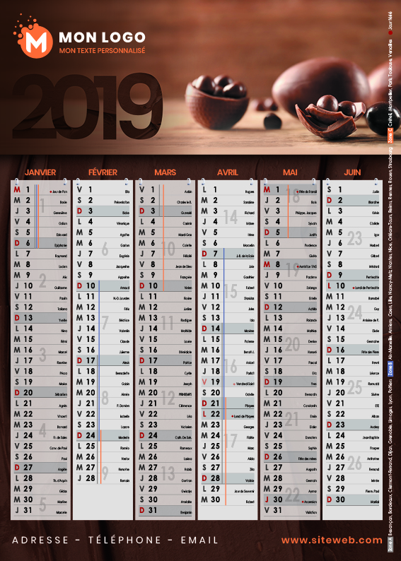Calendrier A5 Chocolat